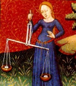 מזל מאזניים. מקור: ויקיפדיה ברשיון שימוש חופשי PD. איור מתוך:  medieval book of astrology